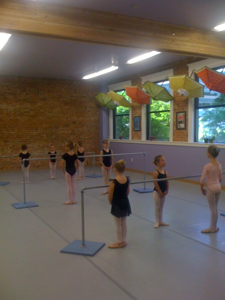 The students face the barre, ready to begin morning class