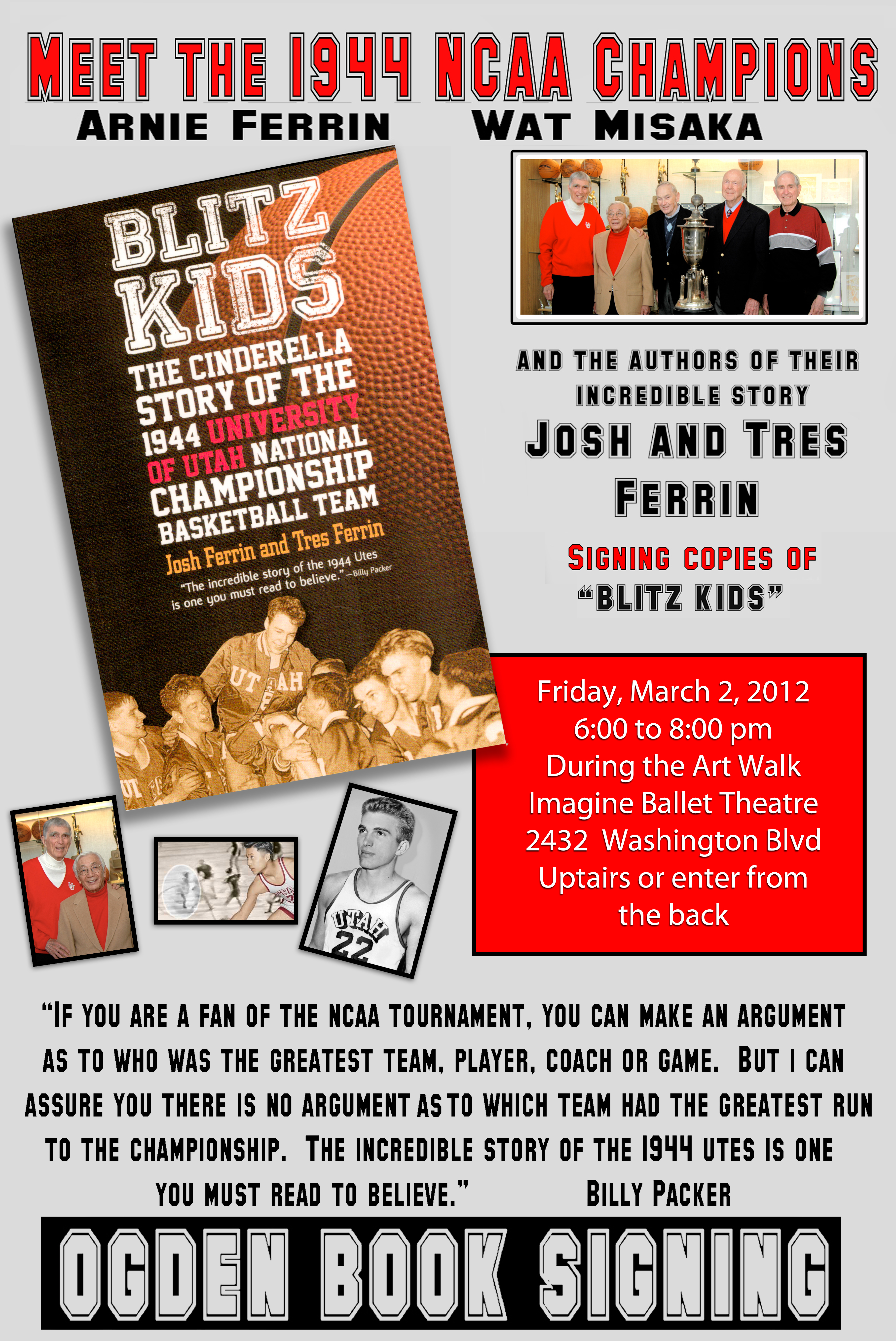 The Art Walk will feature the Sports Art of Paul Ashton & Authors Josh & Tres Ferrin