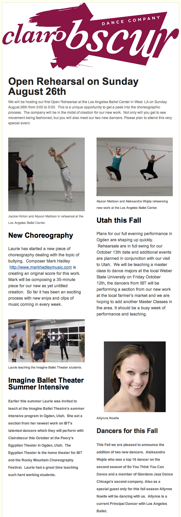 Clairobscur Dance Company News Letter